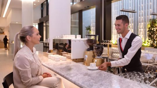 QANTAS T3 International Transit Lounge - Bar-and-barista-coffee.jpg